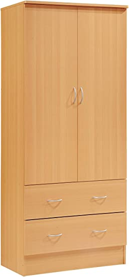 Amazon.com: Contemporary Armoire Wardrobe - Bedroom Storage ...