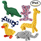 simptech Rope Dog Chew Toys, Animal Design Cotton Puppy Toys, Training Teething Toys for Small to Medium Sized Dogs(Set of 6) (6 Pack)