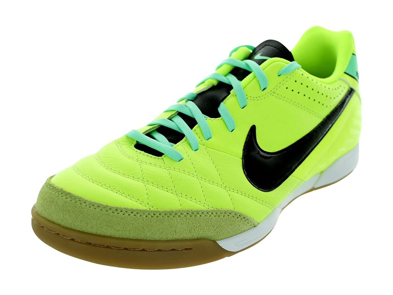 Mens Nike Tiempo Natural IV Leather Indoor Soccer Cleat Volt/Green  Glow/Black