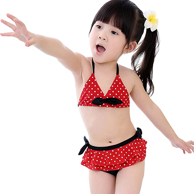 a1cbebf86a Amazon.com : Kylin Express Polka Dot Little Girls Swimsuit Kids Two-Pieces Bikini  Swimwear 5T Red/Black : Clothing