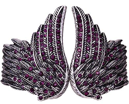 YACQ Women's Guardian Angel Wings Hinged Bangle Bracelets Crystal Costume Jewelry Accessories ()