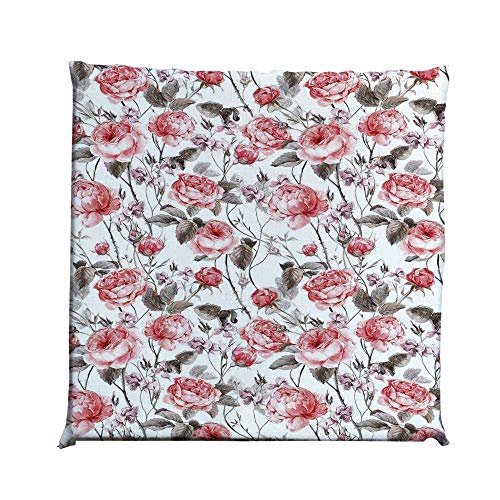 YOLIYANA Rose Durable Square Chair Pad,Classic Vintage Floral Pattern Watercolor Style Bouquet of English Roses Wildflowers Decorative for Bedroom Living Room,One Size (Wildflower Hammock Chair Swing)