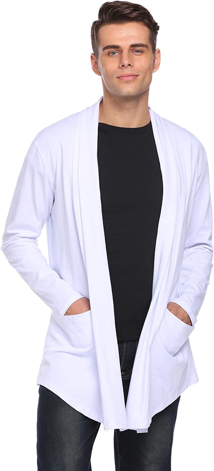 YUNY Men Single Breasted Oversized Long-Sleeve V Neck Dress Shirt Black 2XL