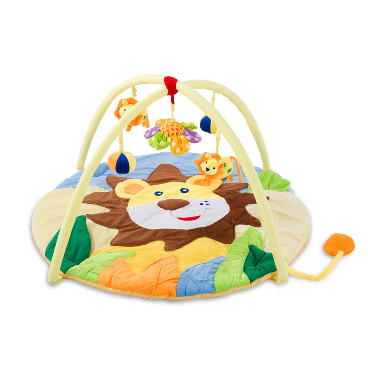 SONARIN Lindo León Alfombras de juego Gimnasio de Actividades Baby Play Mat & Activity Gym Colorido e interactivo, Ideal Regalo(Amarillo)