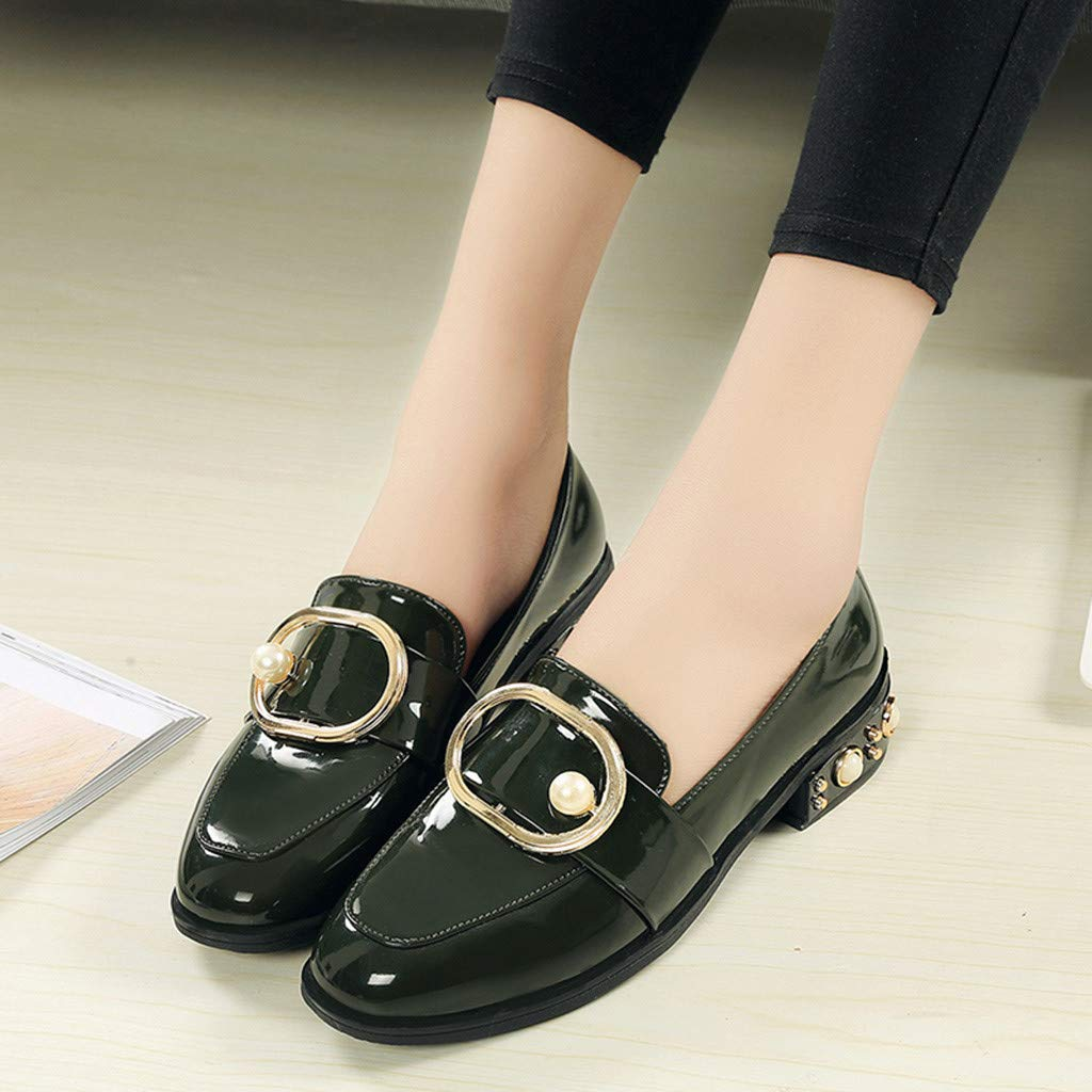 Moonker Women Girls Fashion Casual Leather Shoes Ladies Round Toe Slip On Square Heel Work Shoes