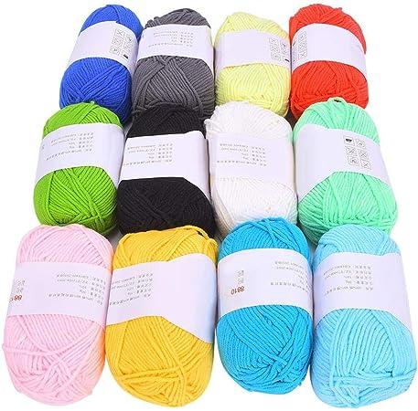 Hilo acrílico, 12 colores Hilo de algodón de leche Hilo de ganchillo de algodón suave Hilo