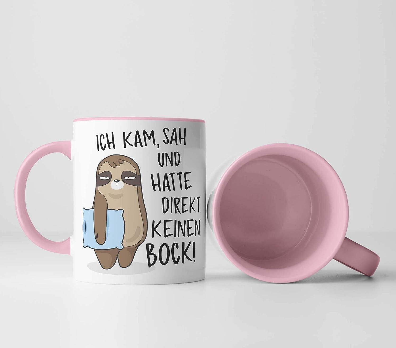vanVerden Tasse Geschenk Idee Kaffeetassen sah und hatte direkt keinen Bock! Ich kam Faultier mit blauem Kissen beidseitig Bedruckt Tassenfarbe:Wei/ß