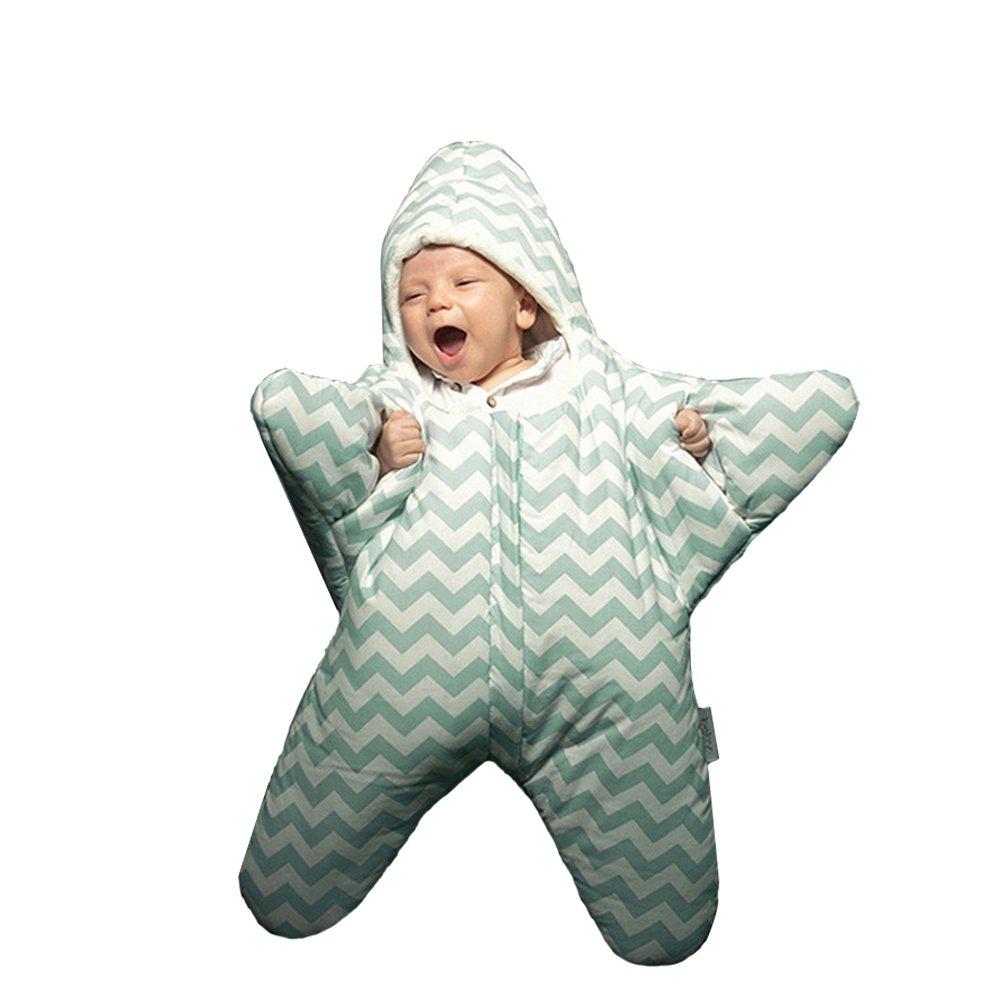 Kuuboo Cotton Baby Starfish Sleeping Bag Super Soft Newborn Sleep sack Fleece Sleeping Bag Wrap Blanket Sleep sacks Autumn Winter Warm Strollers Bed Swaddle Blanket Wrap Suitable for about 0-12M Baby