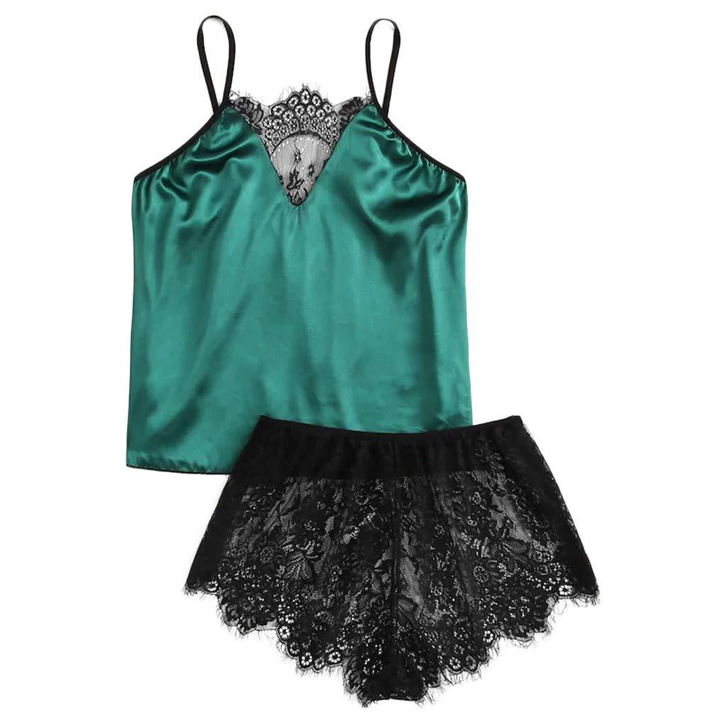Sinwo Sexy Women Satin Silk Sleepwear Camisole Tops Shorts Set Sleepwear Pajamas Lingerie