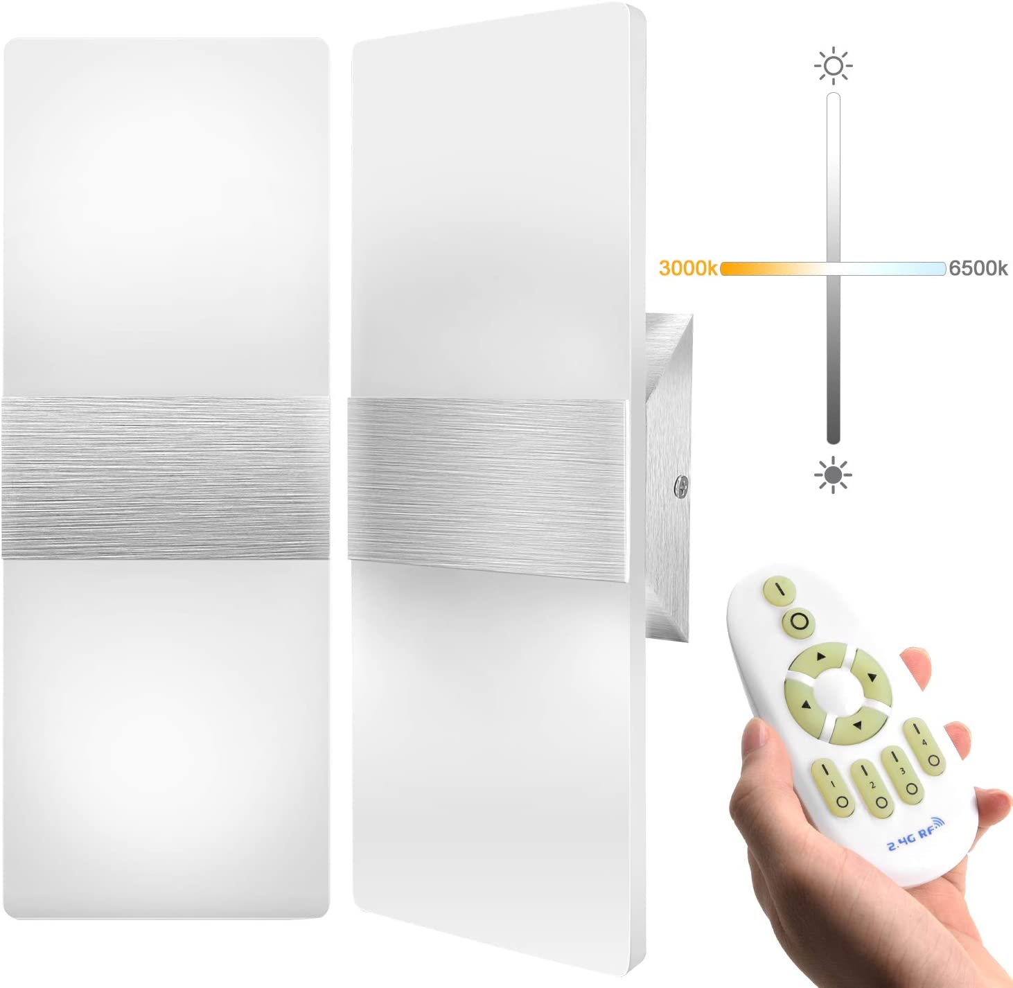 Stepless Dimming LED Wall Sconce with Remote Control JACKYLED 12W Set of 2 LED Wall Lamp Acrylic Material Hardwired Wall Mounted Wall Lights for Hallway Bedroom Porch Stairway Living Room