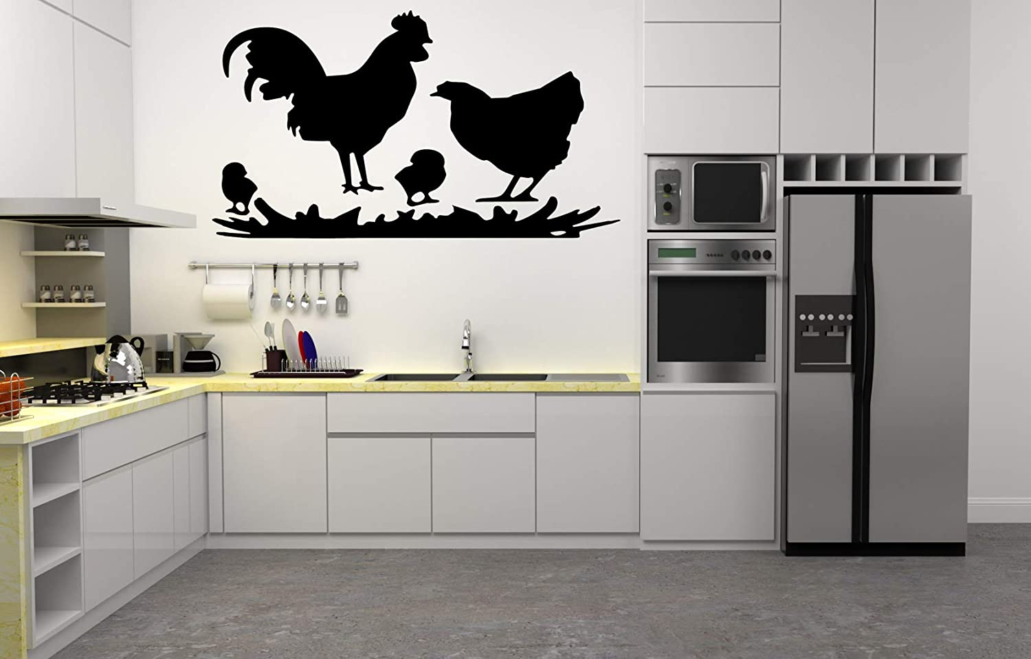 Amazon Com Vinyl Decal A Family Of Chickens Silhouette Kitchen Home Decor Arts Crafts Sewing