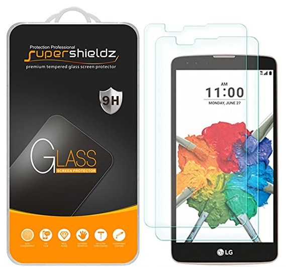 (2 Pack) Supershieldz for LG Stylo 2 Plus Tempered Glass Screen Protector,  Anti Scratch, Bubble Free