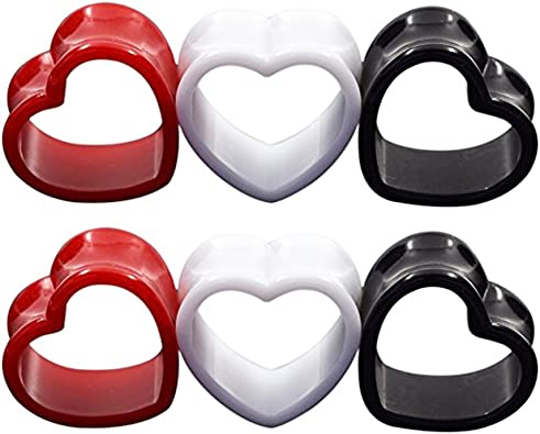 Black Pink Adorable Heart Acrylic Single Flared Ear PlugsSold as Pairs