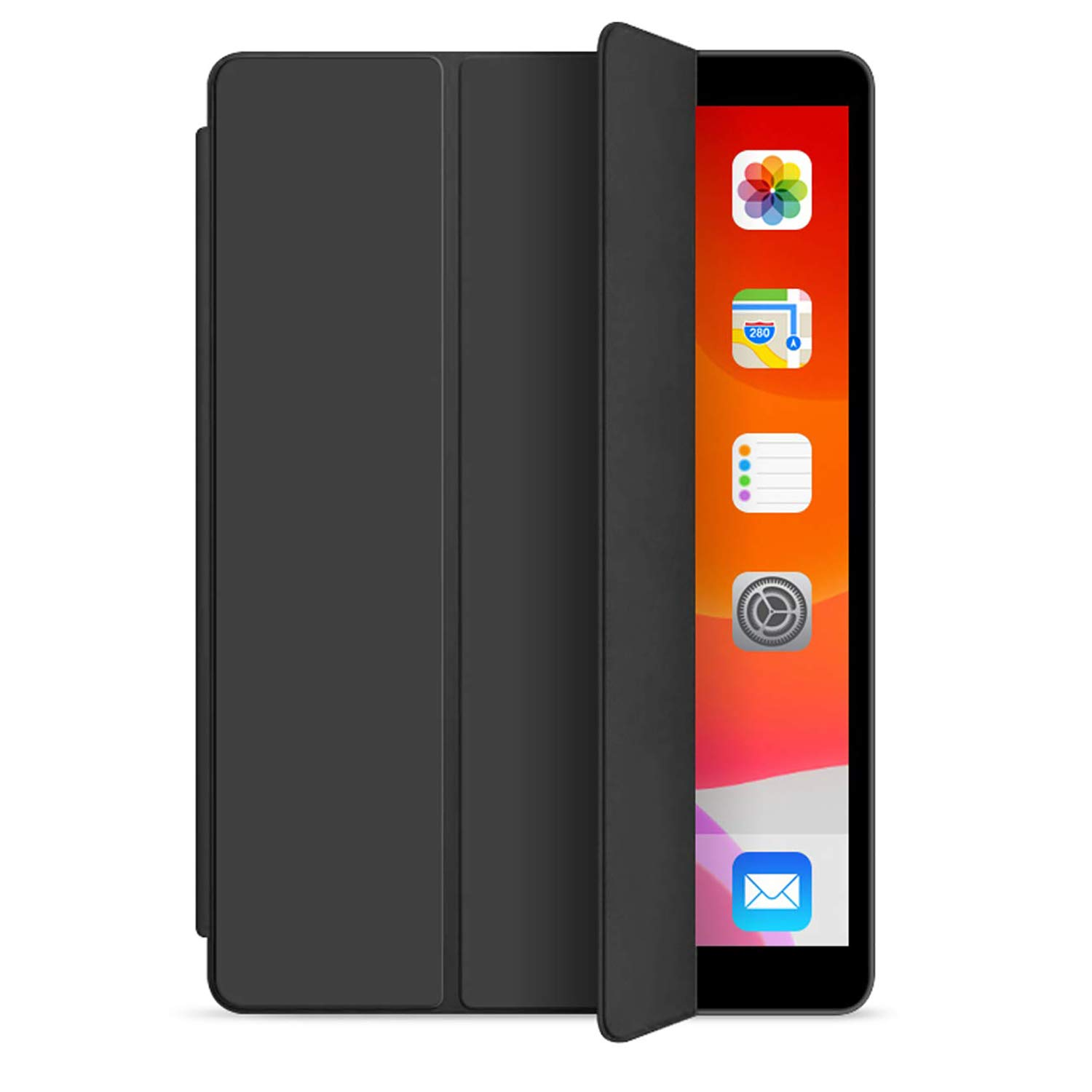 ORIbox Case for New iPad 7th 10.2''(2019), Lightweight Trifold Stand Smart Cover with Auto Sleep/Wake Function, Soft TPU Back Cover, 10.2 Inch, Black