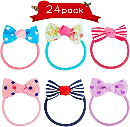 Handmade Baby Girls Kitty Tiny Hair Bow Bobbles Sold In Pairs