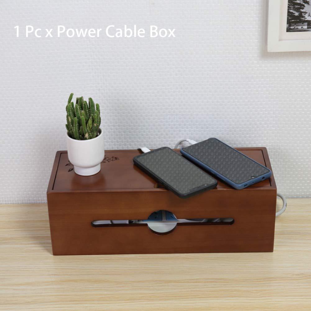 Ganquer Caja de Cable de alimentaci/ón de Madera marr/ón con Tapa extra/íble Resistente a Prueba de Polvo Medium