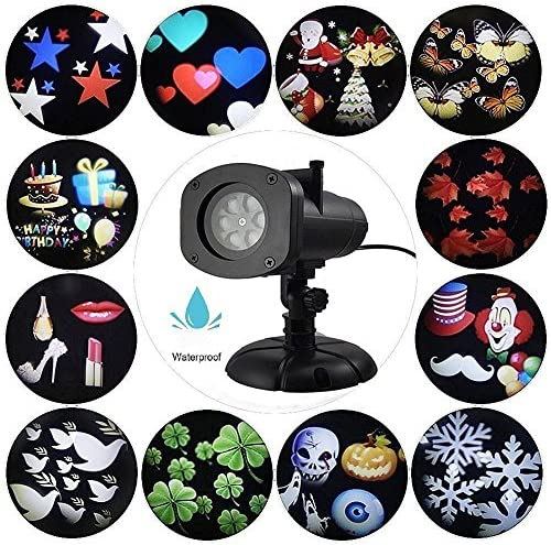 Pamier Led Projector Lights, 12 Slides IP65 Waterproof Landscape Spotlight for Decoration House Garden Christmas Halloween Holiday Party