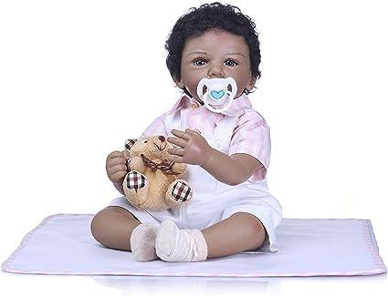 50cm Black Girl Reborn Baby Dolls Soft Vinyl Silicone Toddler Doll Newborn Toys