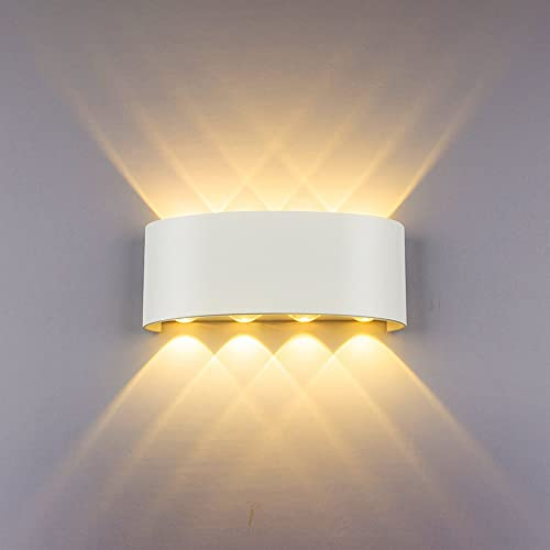 bright indoor wall lights battery powered modern wall light 8w white led sconce up down lamp aluminium waterproof spot lights for living room amazoncouk