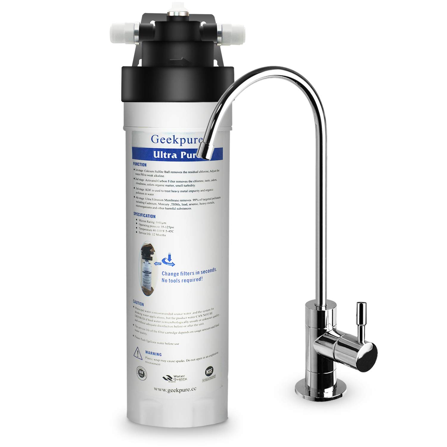 Geekpure 4-Stage Ultra Pure UF Under Sink Water Filtration System BPA Free