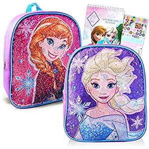 Disney Frozen Backpack for Toddlers Kids Teens Set ~ Deluxe 11″ Mini Backpack with Reversible Sequins and Sticker Activity Pack (Frozen School Supplies Bundle)