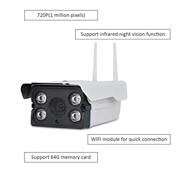 TechCommYang Cámara Wifi Vigilancia Exterior IP HD 720P P2P IR Vision Nocturna Detección De Movimiento con