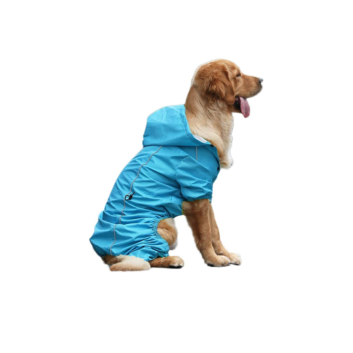 Sky bluee L Sky bluee L Qingbaotong Dog Raincoat Dog Clothes Medium Dog Large Dog Pet Supplies Fluorescent Green, Warm orange, Sky bluee, S M L XL XXL High Strength Waterproof (color   Sky bluee, Size   L)