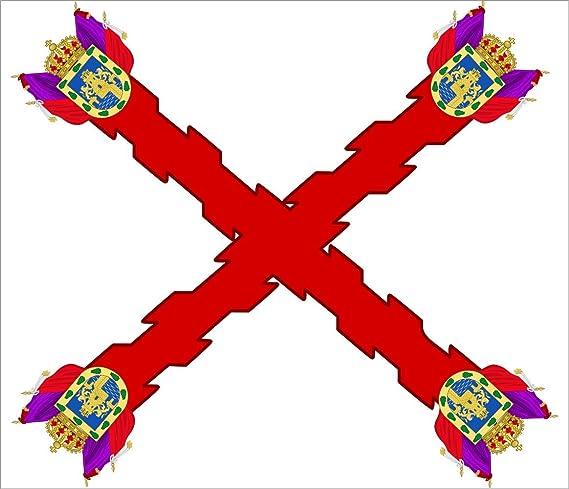 magFlags Bandera Large Utilizada por el Ayuntamiento de México como enseña del Virreinato de la Nueva España | Bandera Paisaje | 1.35m² | 110x120cm: Amazon.es: Jardín