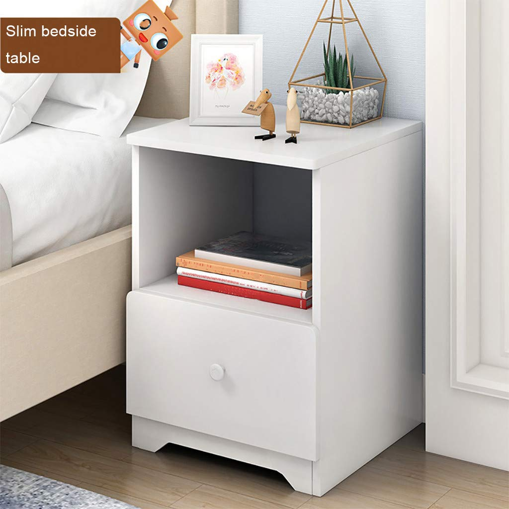 KCPer Assemble Storage Cabinet Bedroom Bedside Locker Double Drawer Bedside Table, Wood Night Stand/Accent Table with Drawer and Cabinet for Storage US Stock (A)