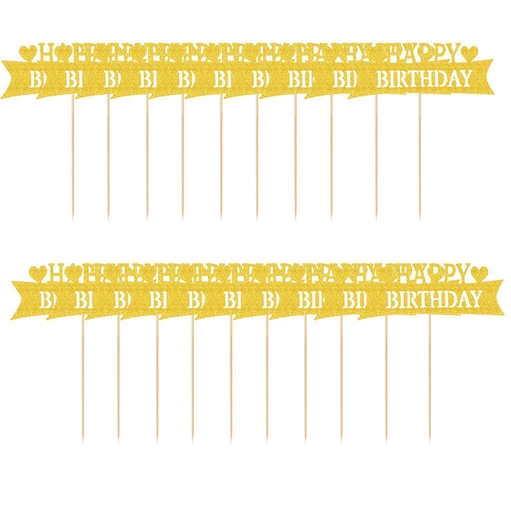 Sky Fish Cake Topper Cake Decor Glitter Topper Birthday Topper Shimmer Topper Used for cake decoration Printed with happy birthday 20pcs Gold