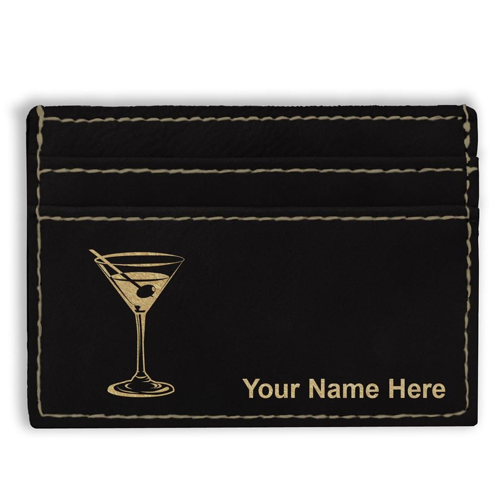 Money Clip Wallet, Martini Glass, Personalized Engraving Included (Black)