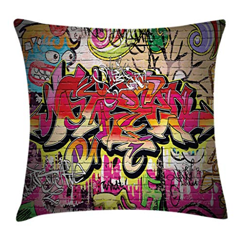 Ambesonne Rustic Home Decor Throw Pillow Cushion Cover by, Graffiti on Wall Urban Street Art with Spray Paint Tagger Underground Theme, Decorative Square Accent Pillow Case, 24 X 24 Inches, Multi Review