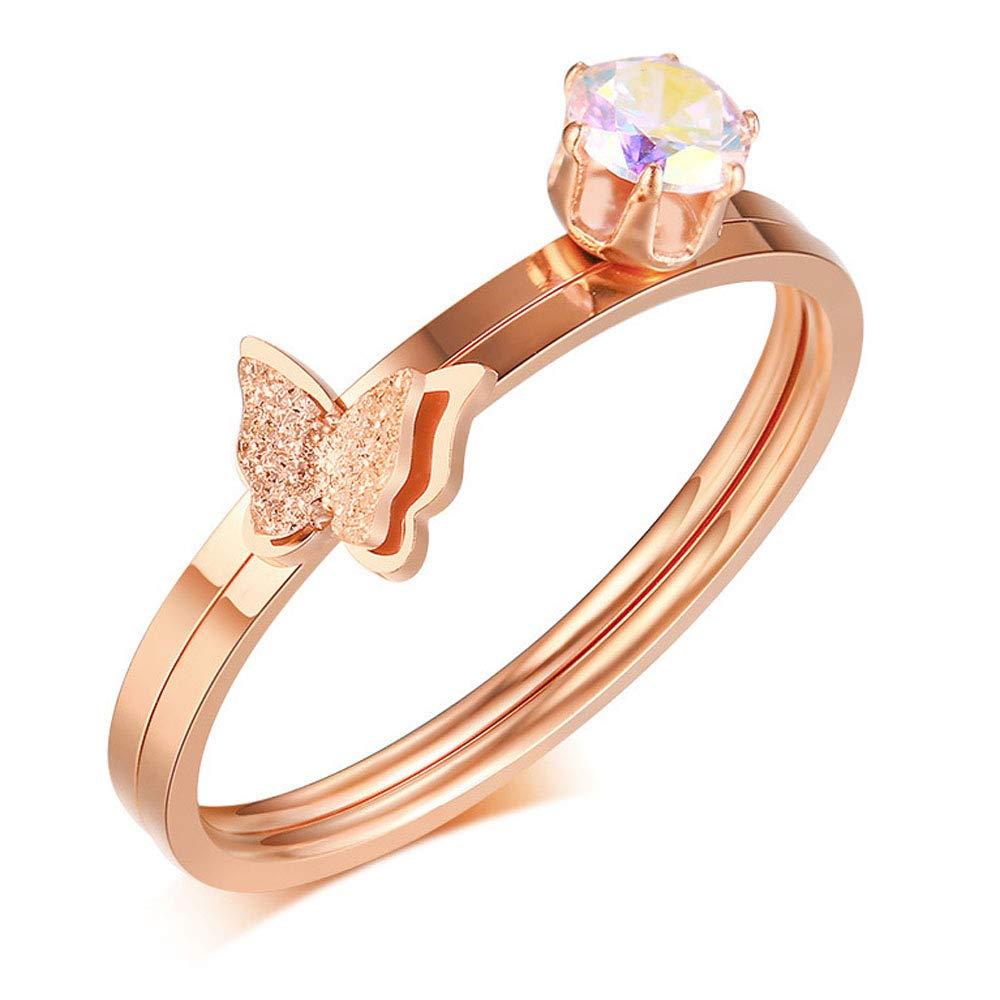 d4074cb9aa Amazon.com: JAJAFOOK 2PCS Ladies Stainless Steel Inlaid a Single Zircon  Sandblasted Butterfly Ring Set: Jewelry