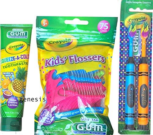 Crayola Children's Hygiene Gift Set Kid Flossers, Toothpaste & 2 Crayola Toothbrushes