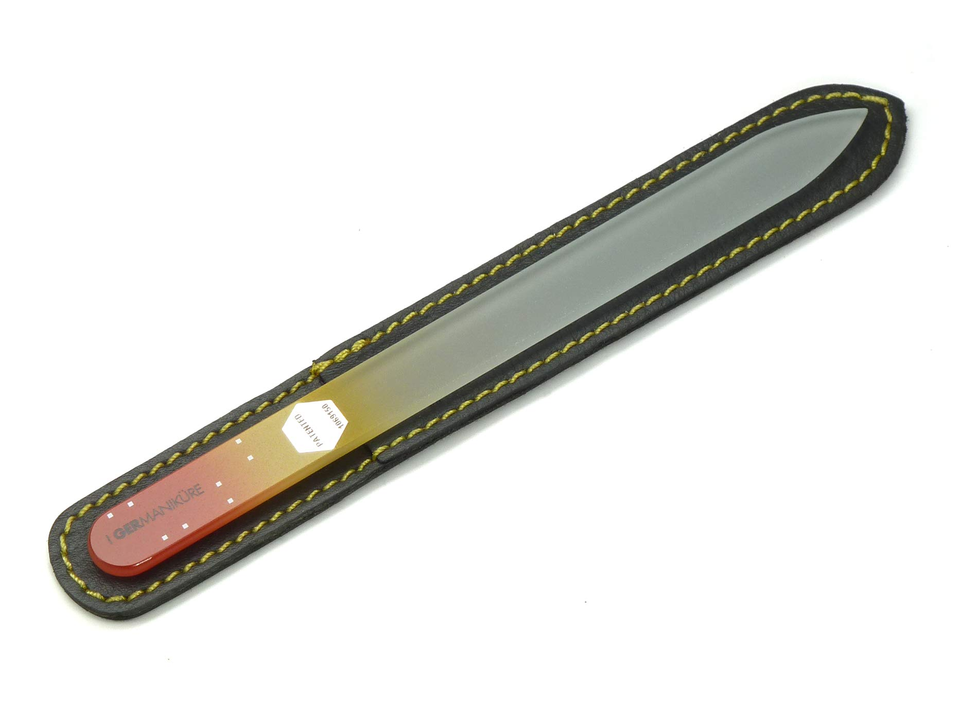 GERmanikure Genuine Patented Czech Crystal Glass Double Sided Manicure Pedicure Mantra Nail File in Protective Leather by GERmanikure