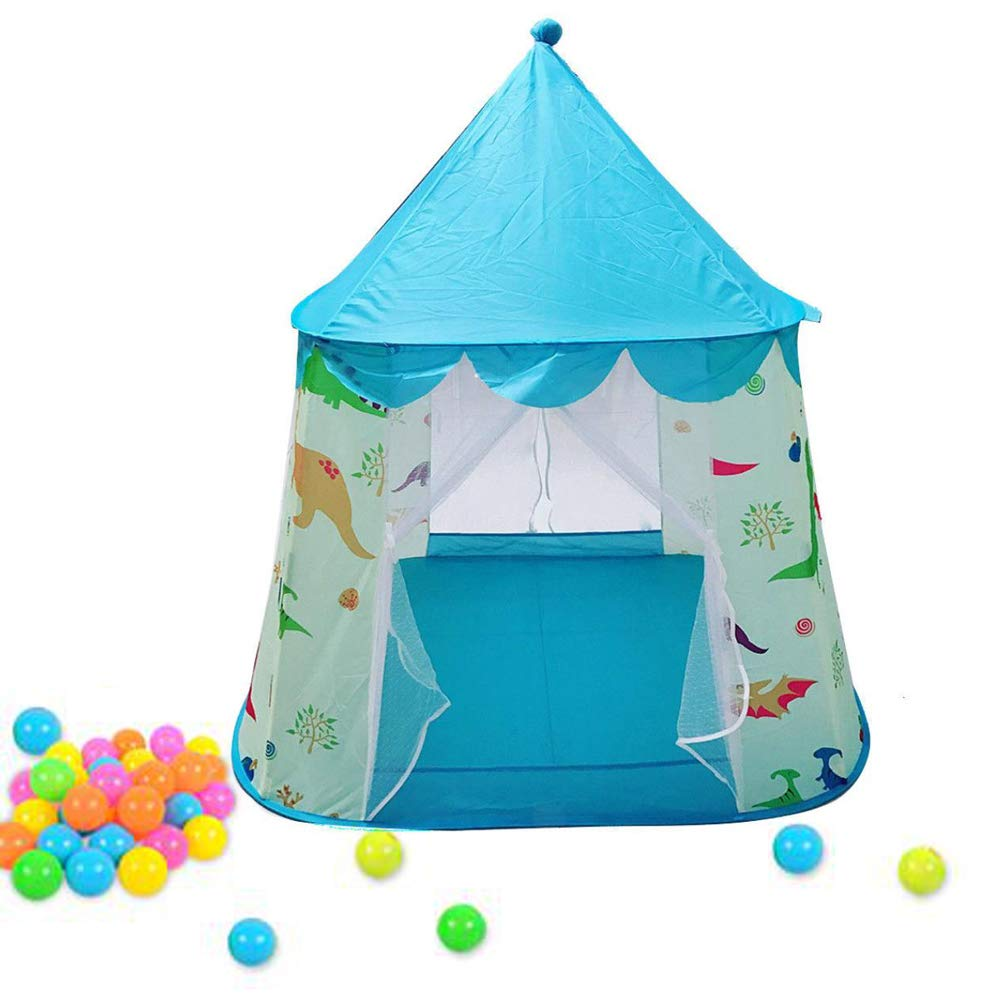 Playhouse for Kids Pink Dinosaur Themed Tent Foldable Pop Up Castle Yurt/Dome Tent Indoor Outdoor Cartton Animal Play Tent For Girls/Boys/Infant(Blue)