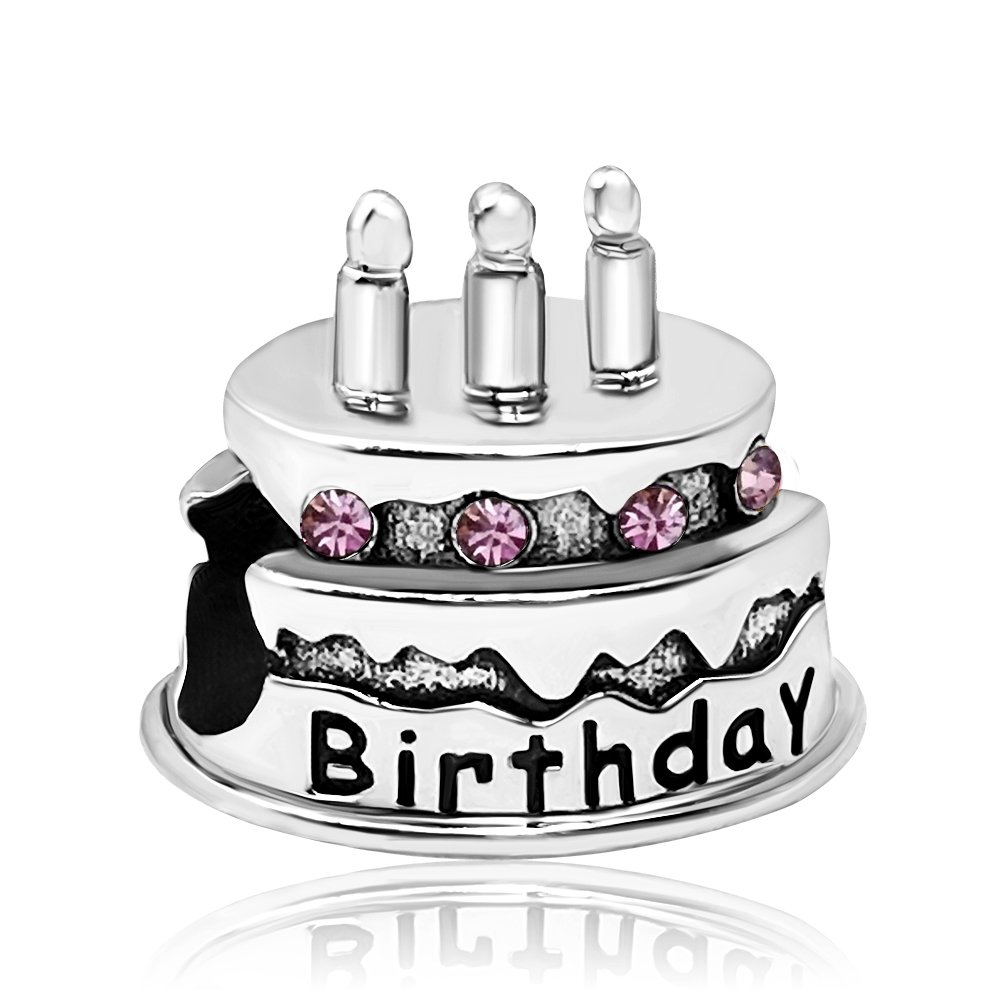JMQJewelry Happy Birthday Birthstone Cake Candles June-Dec Crystal Rhinestone Charms for Bracelets JMQA010-08