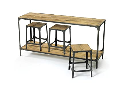 Rustic Iron Wood Kitchen Island Counter Table | Nesting Stools