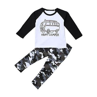 Jinjiu Infant Toddler Baby Boy Long Sleeve Letter Happy Camper Printed T-shirt Tops+Pants 2Pcs Outfit Set