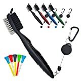 PILAAIDOU Golf Brush and Golf Club Groove Cleaner with Nylon and Iron Wire Dual Sided Bristles 2 Ft Retractable Carabiner - Loop Clip (Carabiner) Easily Attaches to Golf Bag , A Great Gift