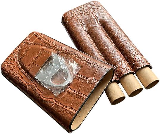 Sharplace Estuche de 3 Tubos para Puros con Patrón de Cocodrilo de Cuero Marrón Cortador: Amazon.es: Hogar