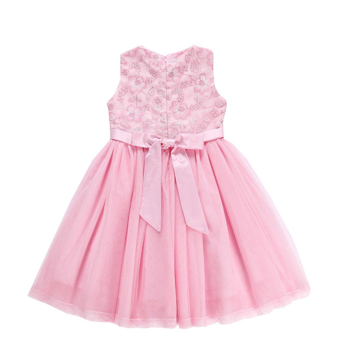 5702763303e Amazon.com  little dragon pig Kids Girl Vintage Dress Elegant Flower Tulle  Vacation Birthday Party Dresses  Clothing