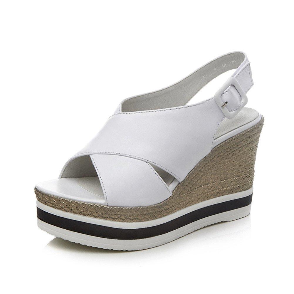 Nine Seven Women's Open Peep Toe Wedges Sandles - Handmade Buckle Sling Back Comfort Fashion Shoes B07DJ5CKQW 7.5 B(M) US|White Leather