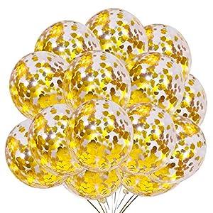 Ballon Confettis Or, 50 pièces Ballons de fête en Latex de 12 Pouces avec des confettis dorés pour Les décorations de…