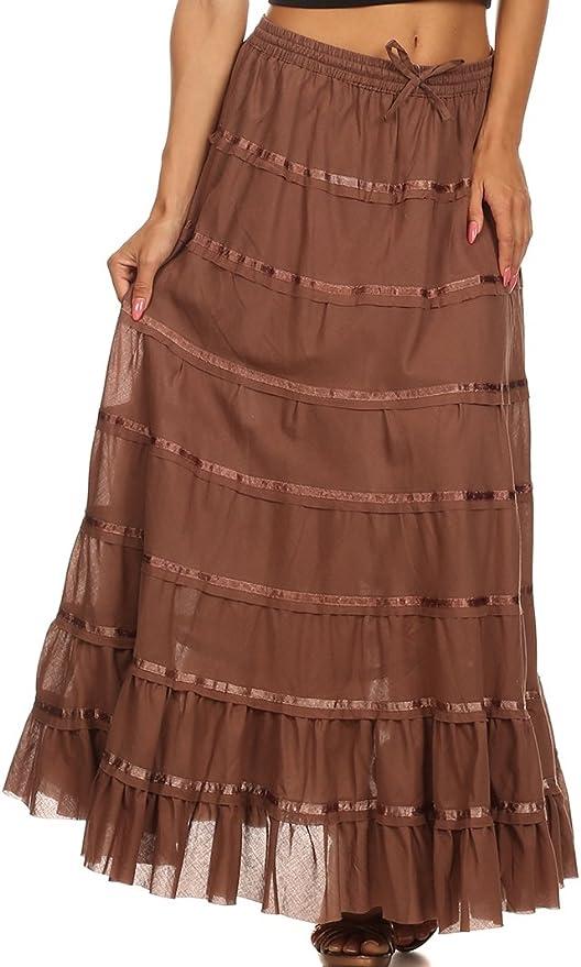 Sakkas Raw Edge niveles cinta gitano Boho larga falda de algodón - Marrón -: Amazon.es: Ropa y accesorios
