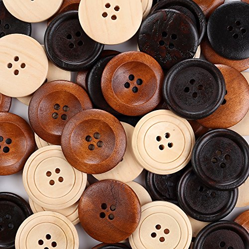 Crystallove 4 Holes Mixed Color 30mm Buttons Lot for Sewing Fasteners Scrapbooking and DIY Craft (1.2