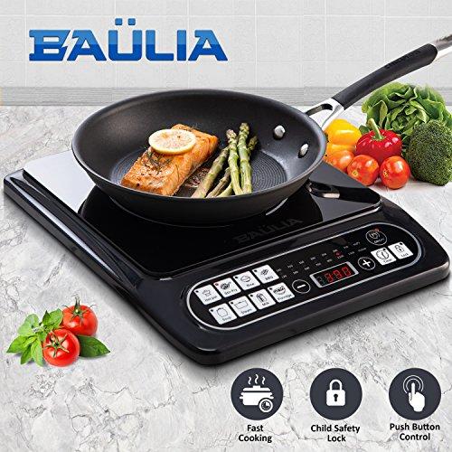 Baulia SB817 Induction Cooker Single 1500-Watt Countertop Burner for Fast Cooking, Precise Digital Temperature Control + 4 Hour Timer, Black by Baulia
