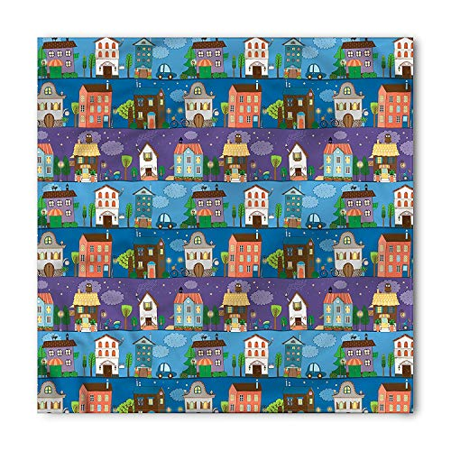 Urban Bandana, Hand Drawn Townhouses, Unisex Head and Neck Tie,39.339.3inch