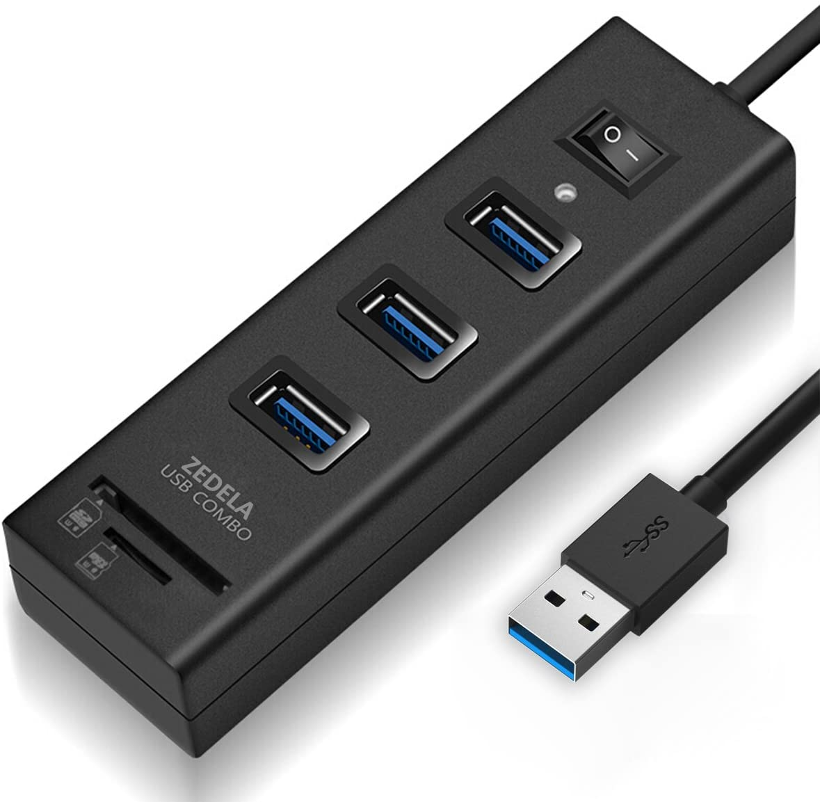 USB 3.0 Hub, Zedela USB Hub 3.0 with SD Card Reader (3 USB 3.0 Port Adapter + SD/TF/Micro SD Card Reader), 5Gbps SD to USB Adapter for Computer(Windows,iMac,MacBook Pro/Air), IdeaPad-with Power Switc