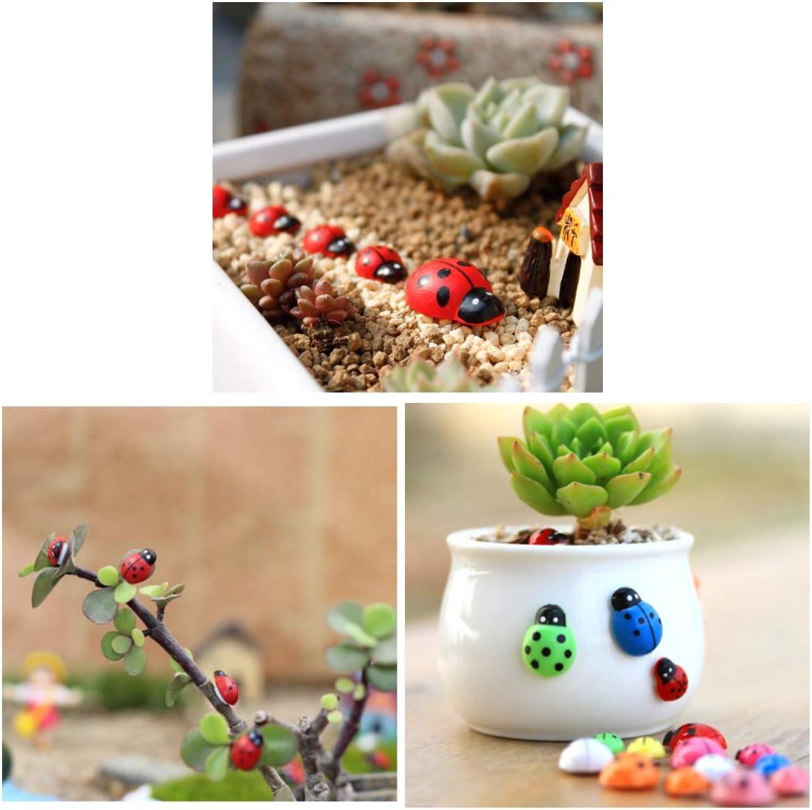 JZK 200 x Mini Wooden Colourful Ladybird Ladybugs Adhesive 10x13mm Ornament for Wedding Favour Box Birthday Decoration Scrapbooking